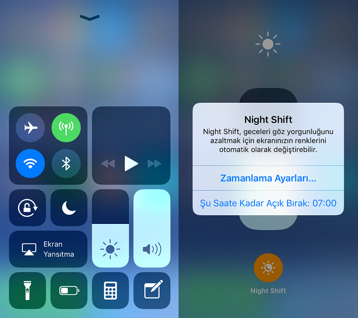 iOS 11'de Night Shift Açma