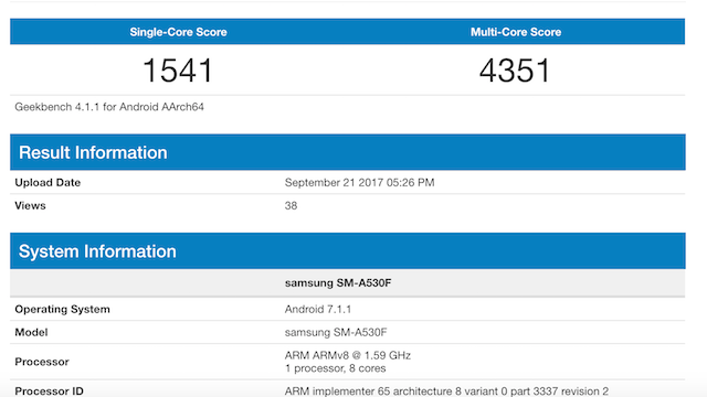Galaxy A5 (2018) Geekbench testi