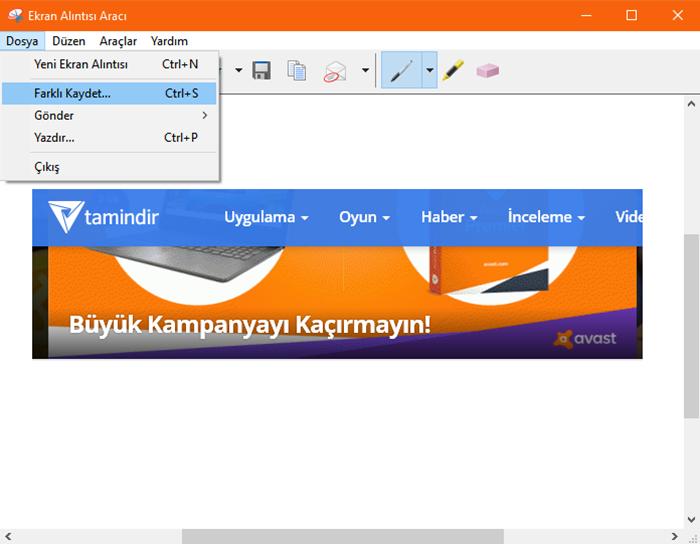 windows 10 ekran alıntısı aracı kaydetme