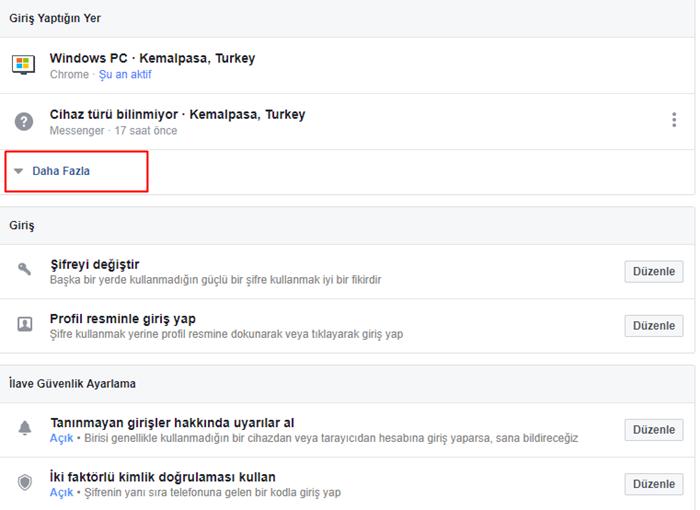 facebook hesap etkinlikleri
