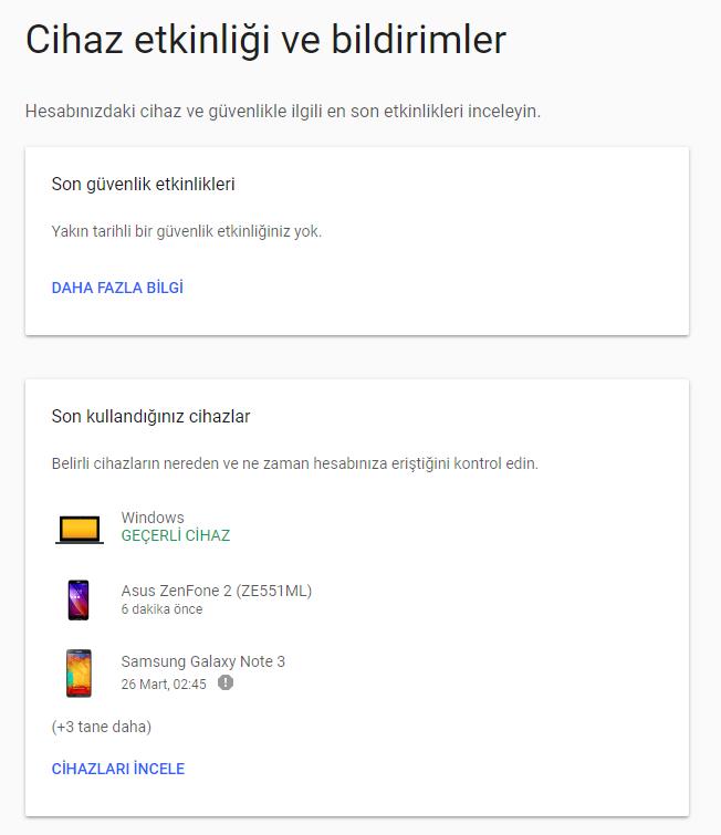 google hesap etkinlikleri