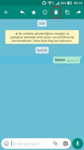 whatsapp mesaj sil
