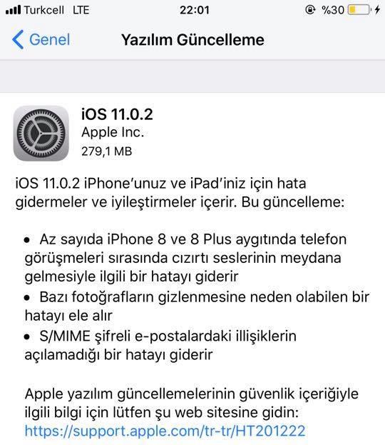 iOS 11.0.2 Özellikleri