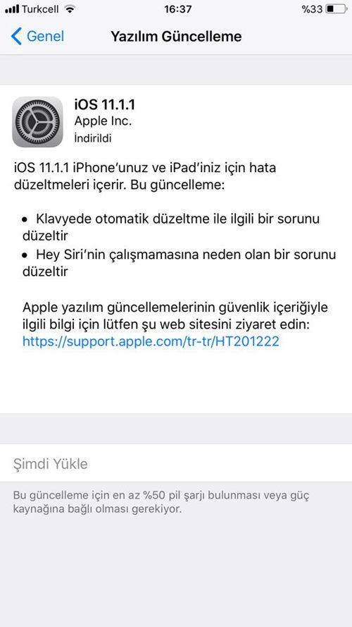iOS 11.1.1 Güncellemesi