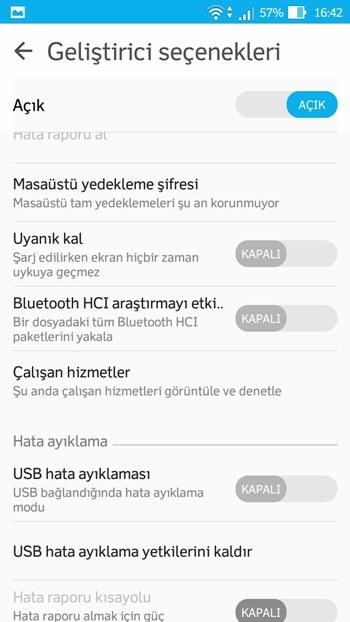 android geliştirici seçenekleri