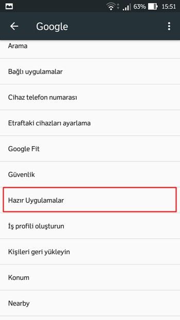 Android hazır uygulamalar