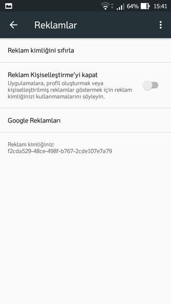 Android kişiselleştirilmiş reklamları kapatma