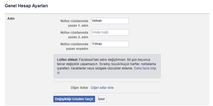 Facebook isim değiştirme