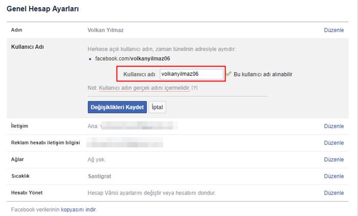Facebook kullanıcı adı değiştirme