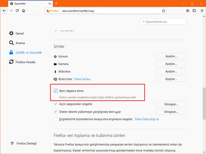 Firefox'ta Masaüstü Bildirimlerini engelleme