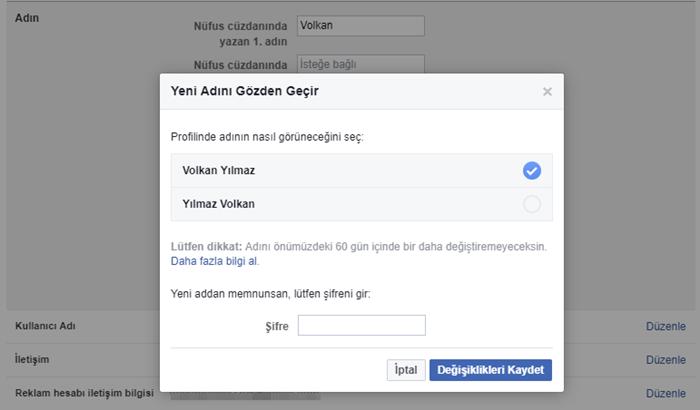 Facebook isim değiştirmeyi onayla