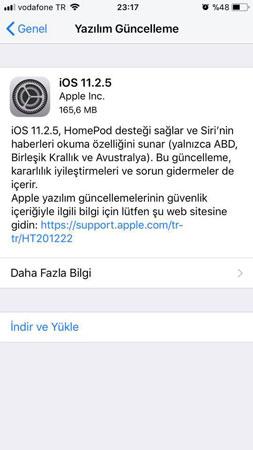 iOS 11.2.5 Güncellemesi
