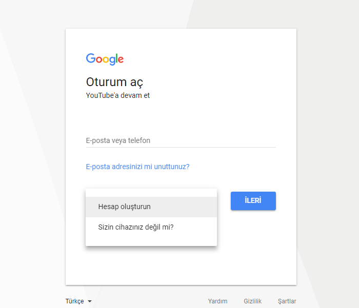 youtube hesap oluştur
