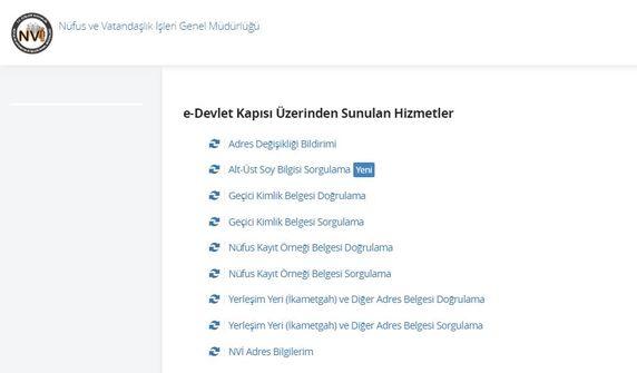 e-Devlet soyağacı sorgu ekranı