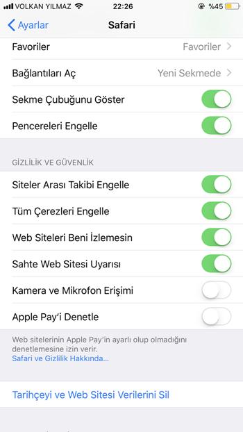 iphone web izleyicilerini engelleme