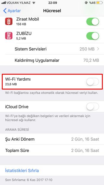 iphone wi-fi yardımı