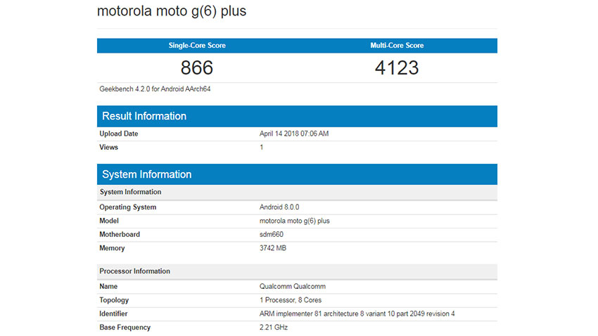 Moto G6 Plus Geekbench 2