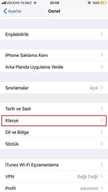 iOS klavye ayarları