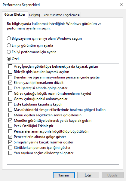 windows performans seçenekleri