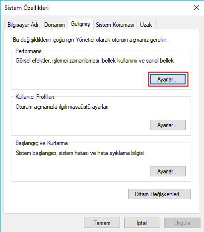 windows sistem özellikleri