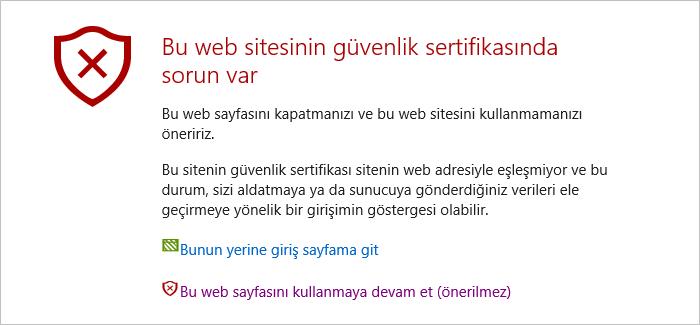 web sitesi güvenlik sertifikası sorunu