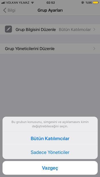 WhatsApp grup bilgisi düzenleme