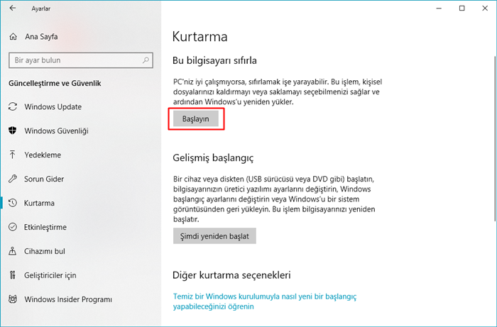 windows'u sıfırlama