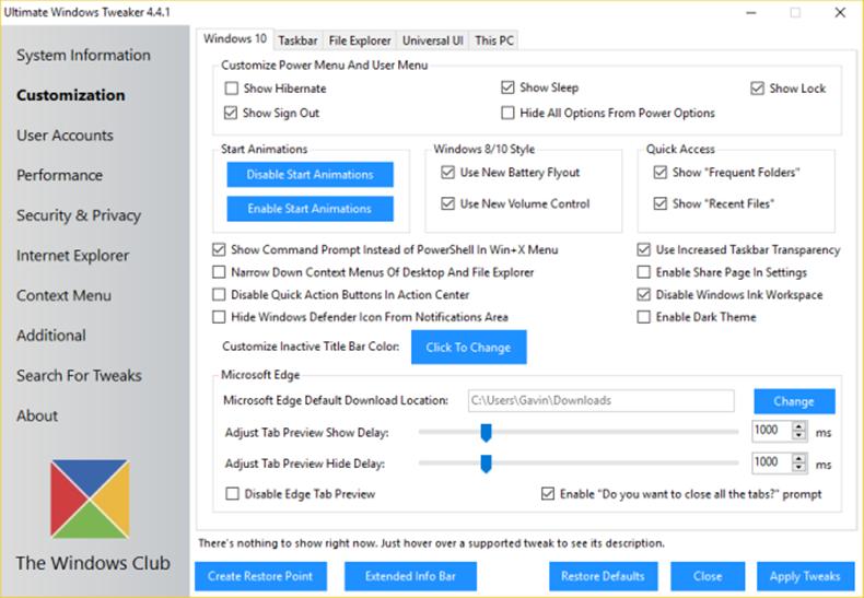Ultimate Windows Tweaker 4