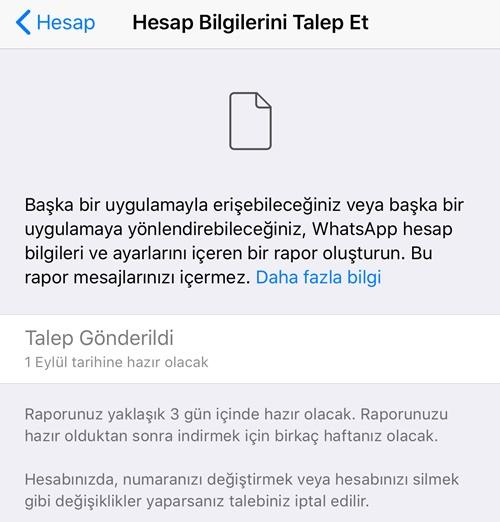 whatsapp hesap raporu talep etme 2