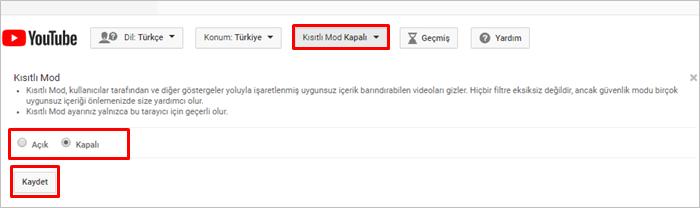 YouTube Kısıtlı Mod