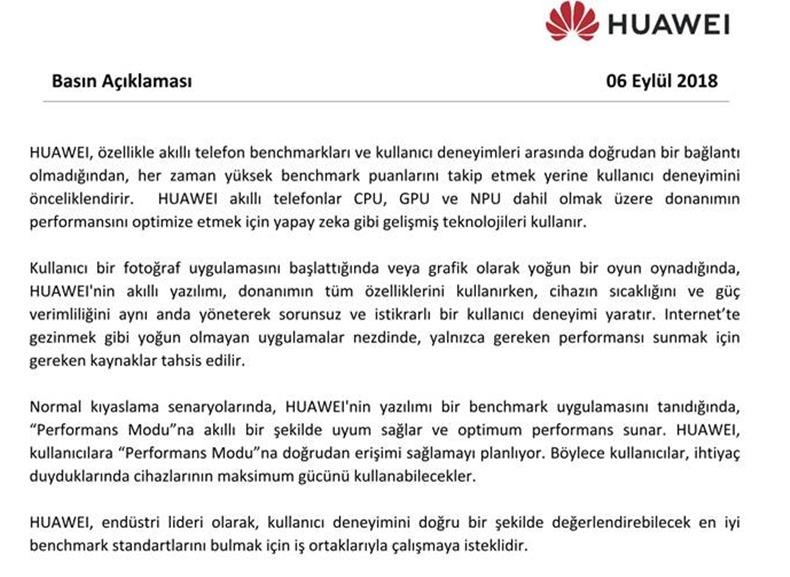 Huawei Türkiye açıklama