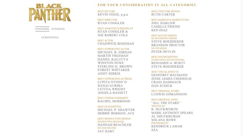 Disney Black Panther Oscar Awards