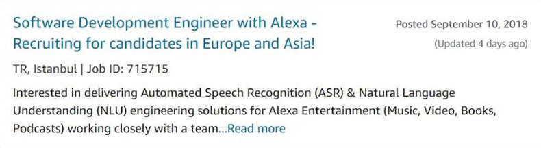 Amazon Alexa İçin Türk Yazılımcı Arıyor 2