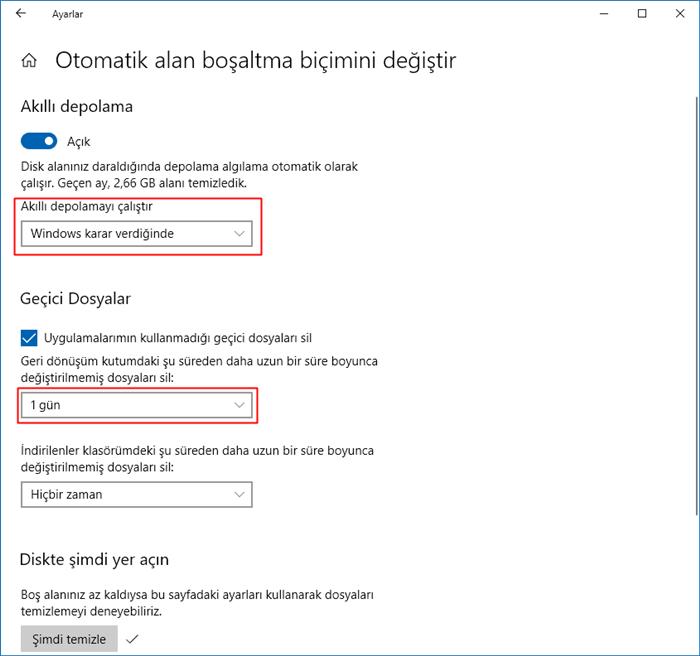 Windows gereksiz dosya temizleme sıklığı
