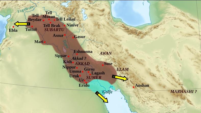 akad imparatorluğu harita