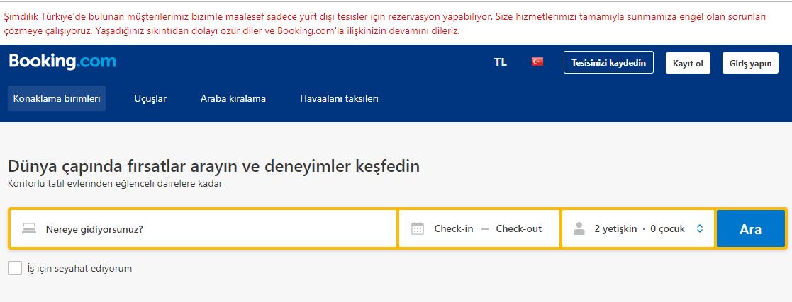 booking.com kapatıldı