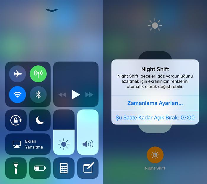 iOS 11'de Night Shift Açma