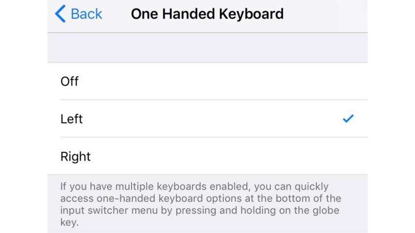 iOS 11 Tek El Klavye