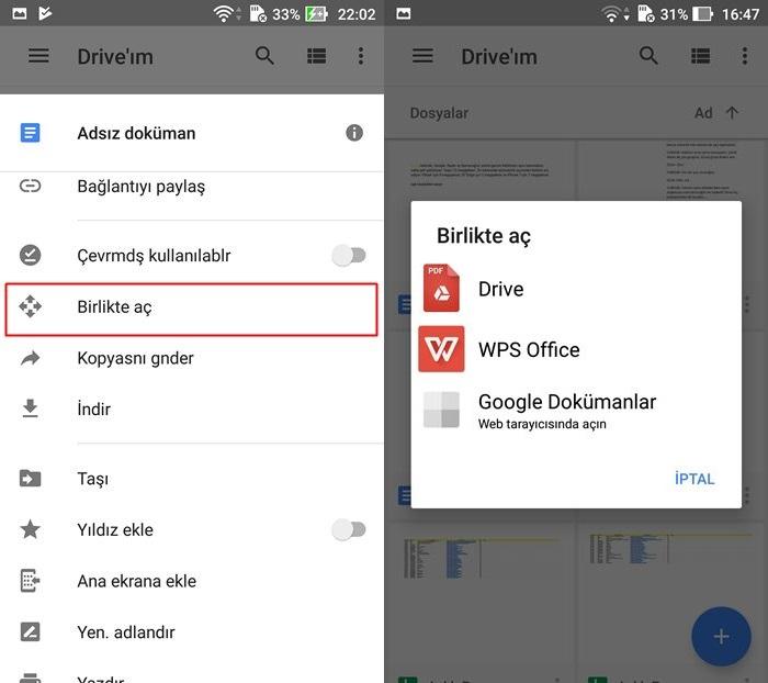 dosyaları farklı uygulamada açma