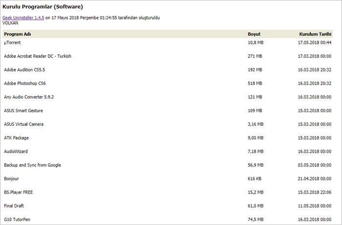 geek uninstaller program listesi