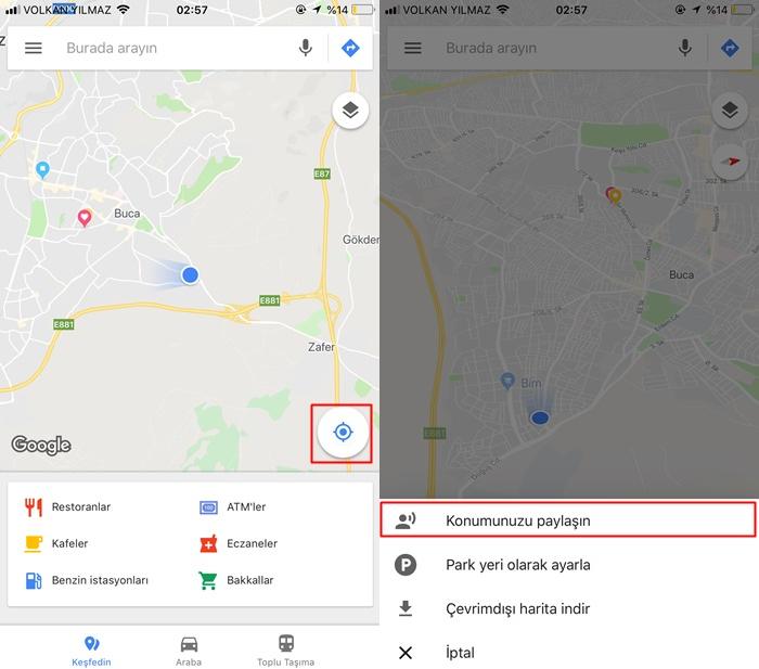 google haritalar konum paylaşma