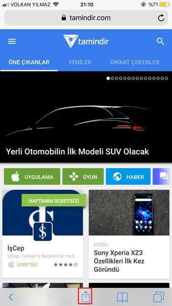 iphone web site paylaş