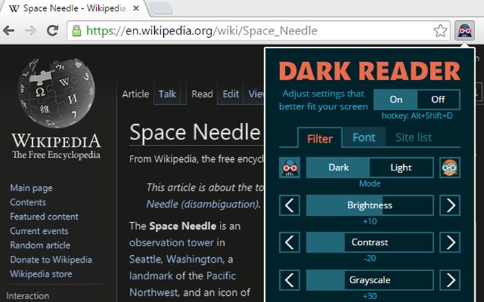dark reader eklentisi