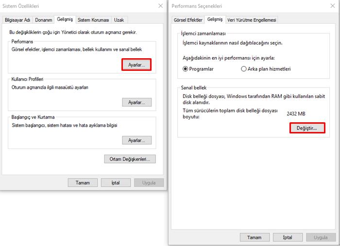 windows 10 sanal bellek ayarı 1