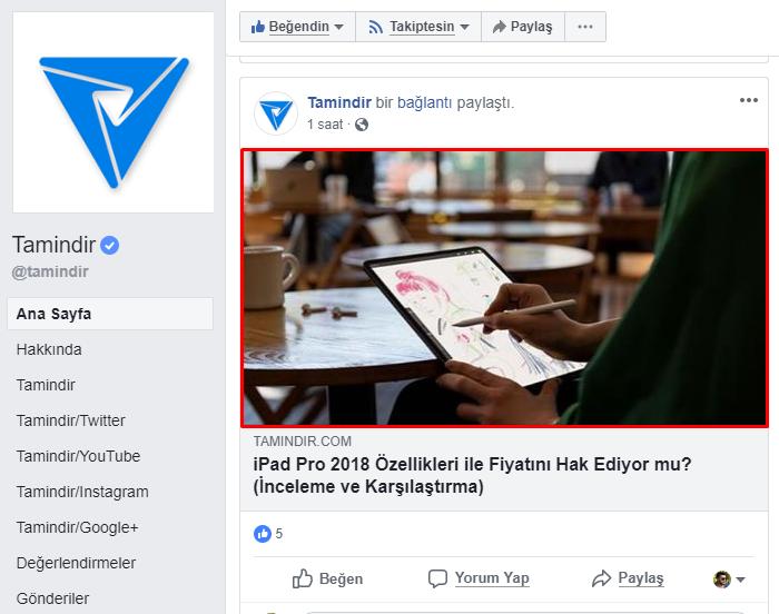 facebook bağlantı resmi boyutu