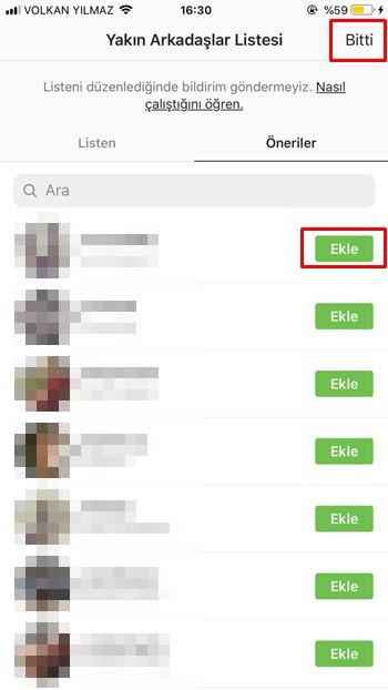 Instagram yakın arkadaşlar listesi oluşturma