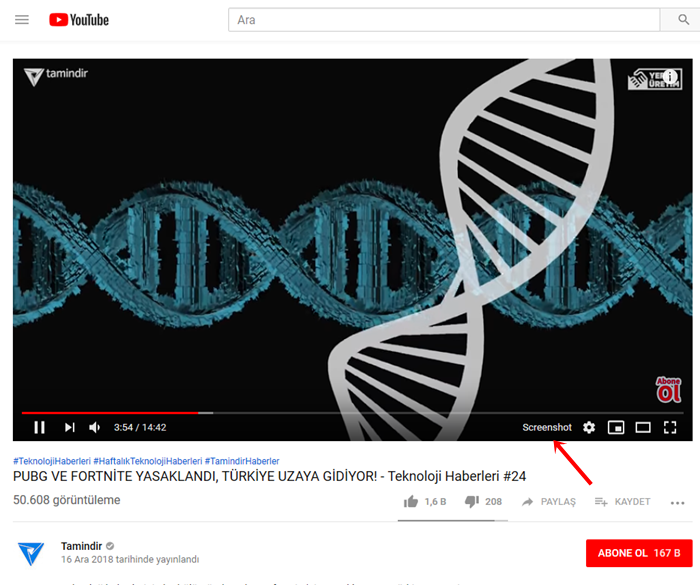 youtube screenshot butonu