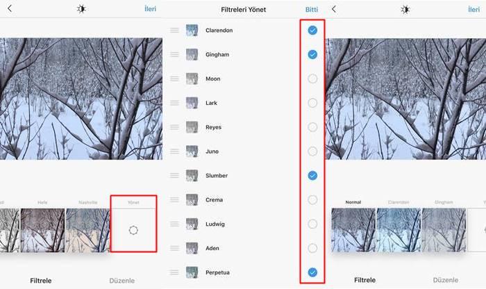 Instagram filtreleri düzenleme