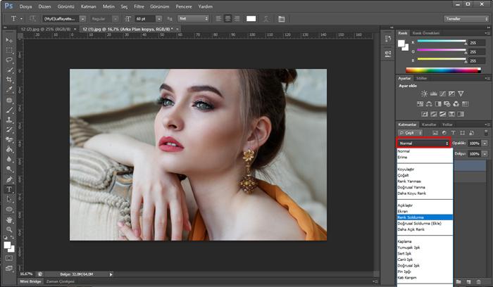photoshop renk soldurma karışımı