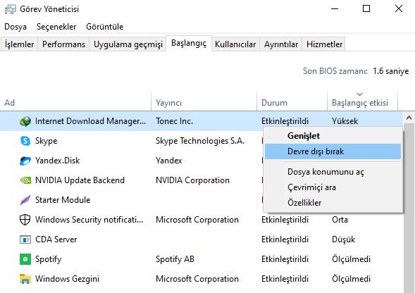 Windows başlangıç uygulamaları